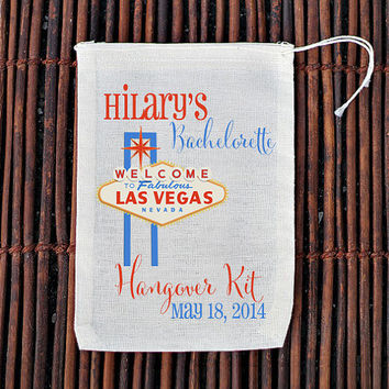 Las Vegas Hangover Kit Bachelorette Party Welcome Bag- Muslin Cotton Mini Favor Bags