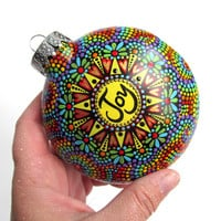 Joy hand painted shatterproof plastic ornament Rainbow colors dotted Ornament