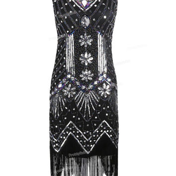 PrettyGuide Women 1920s V Neck Beaded Sequin Art Deco Gatsby Inspired Flapper Dress Great Gatsby Party Dress