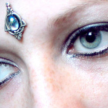 Cloud 9 Bindi, blue, water, fairy, pagan, wicca, tribal fusion, bellydance, costume, magic, fae, third eye, fantasy, silver, gypsy