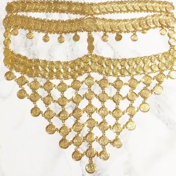 NAWAL — Gold Coin Face Veil, Tribal Face Veil headchain, headpiece, crown, mask, arabian, masquerade, headpiece, costume,  masquerade party