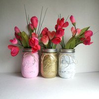Set of 3 rustic shabby chic pink, white, and gold glitter mason jars