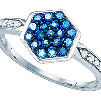 Blue Diamond Fashion Ring in 10k White Gold 0.35 ctw