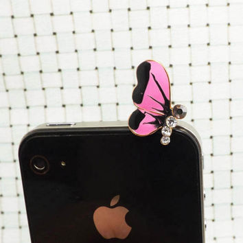 4 Colors Pretty Crystal Alloy Butterfly Anti Dust Plug 3.5mm Phone Accessory Charm Headphone Jack Earphone Cap for iPhone 4 4S 5 HTC Samsung