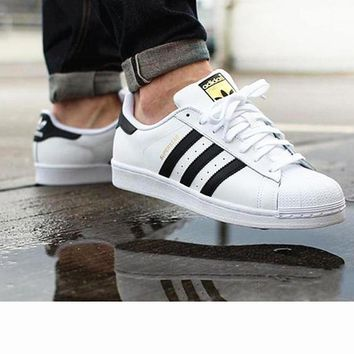 Adidas Fashion Shell-toe Flats Sneakers Sport Shoes white black golden flag