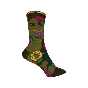 Flower Camo Crew Socks in Brown