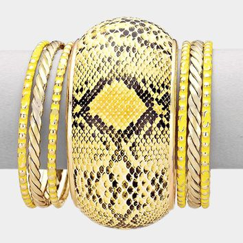 7 Pcs - Snake Skin Bangle Stack Bracelets