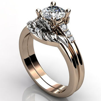 14k two tone rose and white gold diamond unusual unique floral engagement ring, wedding ring, engagement set ER-1052-6