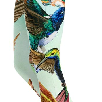 Watercolor Hummingbird Capris