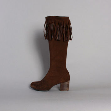 70s FRINGE Suede BOOTS / Tall Brown Leather Boho Boots, 6.5