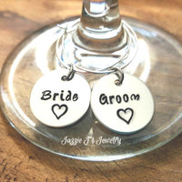 Hand Stamped Bride and Groom Wine Charms, Set of Wine Markers, Wedding Day Wine Markers, Wedding Gift, Stemware, Wedding, Wedding Charms