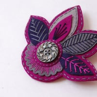Embroidered Leaves Brooch