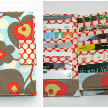 Business Card Organizer, Credit Card Organizer Wallet, Gift Card Holder, women's wallet 38 Credit Card Organizer, Morning Glory Fabric
