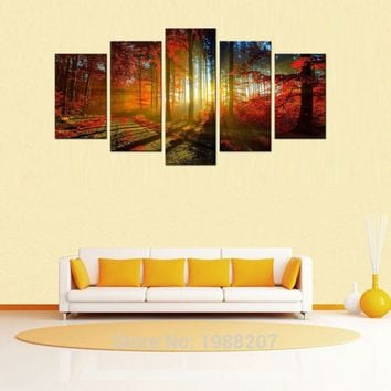 5 Picture Beautiful Autumn Maple Canvas Paintings Landscape Wall Art Paintings Artwork with Wooden Framed for Home Decoration
