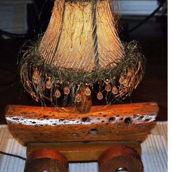Lamp-Grapevine Wood -Fringed Lamp Shade-Pioneer Style-Handmade-Covered Wagon Inspired-Cottage Country