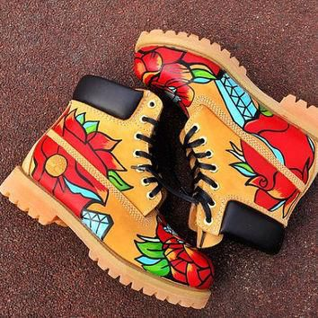 Custom Painted Timberlands. Rose and Diamond Timberlands. Hand Painted Timberlands.