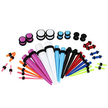 VCMART Taper Kit with Plugs Black Taper Stretching Kit 14G-0G with Black Acrylic Plug Kit 10G-00G- 18 Pairs