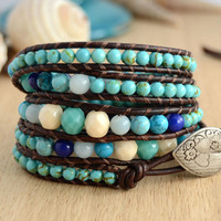 Sectioned five wrap bohemian chic bracelet. Heart button turquoise bracelet.