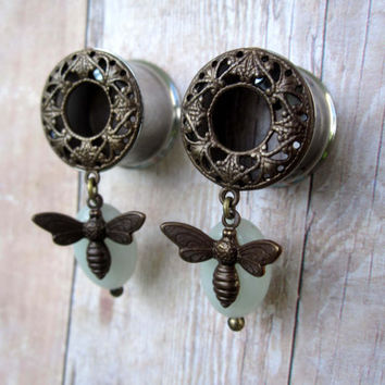 """One of a Kind Pair of Antique Copper, Amazonite, & Bumble Bee Dangle Tunnels - OOAK - Dangle Plugs - Girly Gauges - 9/16"""", 5/8"""" (14mm, 16mm)"""