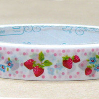 Strawberry flowers Deco Tape adhesive Stickers pink polka dots on white DT323