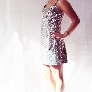 80s Silver Metallic Party Dress / Vintage / SLIP DRESS / Sequin Dress / Disco Dress / Holiday Dress / New Years Eve
