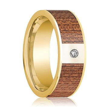 Mens Wedding Ring Polished 14k Yellow Gold Flat Wedding Band with Cherry Wood Inlay & Diamond - 8mm