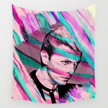 David Bowie Ziggy Stardust Wall Tapestry by Pepe Psyche