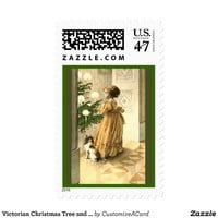 Victorian Christmas Tree and LIttle Girl Cards Stamp