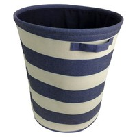 Circo™ Round Linen Decorative Bin Set of 2 - Blue Overalls Stripe