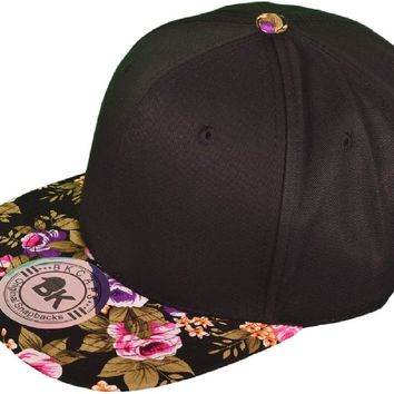 Wholesale Cotton Flat Bill Floral Snapback Hats (Front is Black and Brim is Flower Black) - 3541