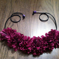 Plum Flower Headband, Ezoo, Flower Crown, Flower Halo, Festival Wear, Coachella, Rave, Bridal, Hippie Headband, EDC, Beach