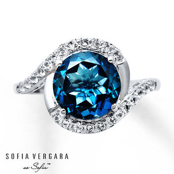 Sofia Vergara Ring Blue/White Topaz Sterling Silver