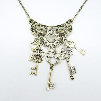 Vintage Styles Brass ox Nice Pattern Alloy Metal Part with Multi Key Pendants Steampunk Necklace