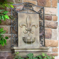 French Lily Outdoor Solar Wall Water Fountain in Florentine Stone Finish