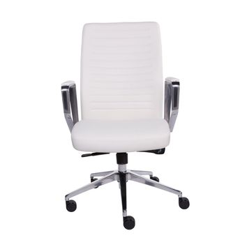 Emory Low Back Office Chair in White and Polished Aluminum
