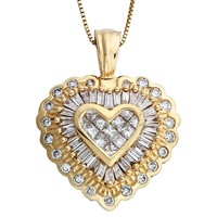 Diamond Heart Pendant Necklace in 14k Yellow Gold (1.00 carats, H-I1 I2)