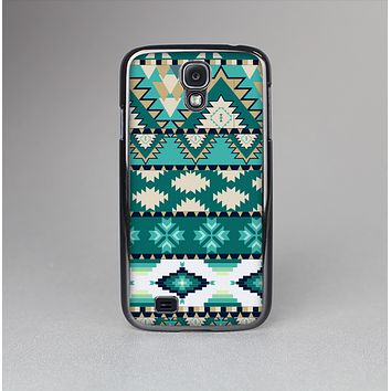 The Vector Teal & Green Aztec Pattern  Skin-Sert Case for the Samsung Galaxy S4