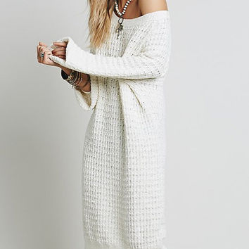 Beige Round Neck Ribbed Shift Sweater Dress