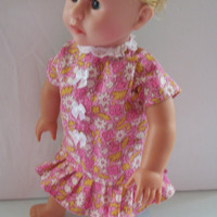 Handmade for American Girl Doll  Pink Dress with Pink and by vw53