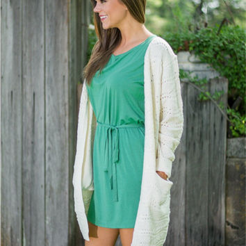 Creamy White Pockets Design Cardigan Sweater