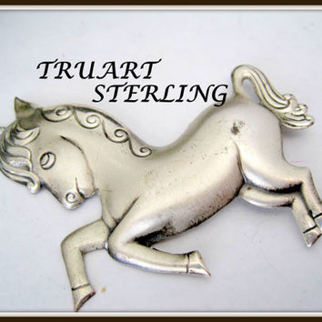 Sterling Silver Horse Brooch - Signed TruArt - Rearing Horse - Whimsical Pin