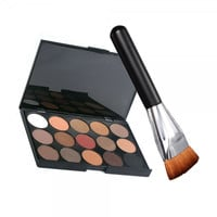15-Color Makeup Eye Shadow Eyeshadow Palette Kit with 163 Flat-end Brush