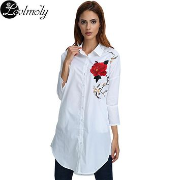 New Arrival 2017 Spring Full Sleeve Big Size Women Embroidery Rose Long Shirts Blouses YC12172