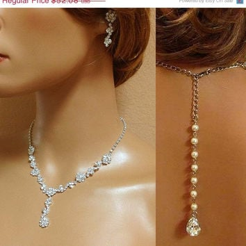Bridal necklace earrings, bridal jewelry set, Bridal back drop necklace ,crystal jewelry, pearl jewelry,bridesmaid jewelry