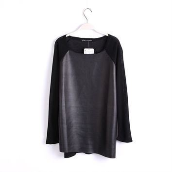 Winter Women's Fashion PU Leather Mosaic Round-neck Long Sleeve Knit Tops [6050459713]