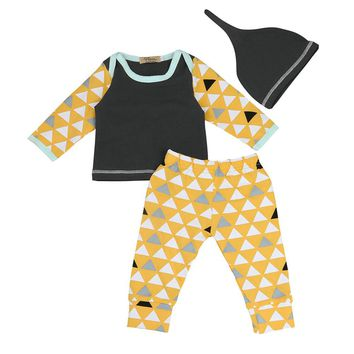 Printed Geometric Baby Boy Girl Clothes Sets Kids Newborn Infant Long Sleeve T Shirt Tops + Pants with Hat Baby Clothing Set