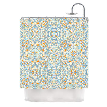 "Allison Soupcoff ""Coastal"" Orange Blue Shower Curtain"