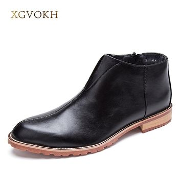 New Arrival Fashion Boots Men Shoes Solid Casual Ankle Boots Black Zipper Classic Business Office Formal Male Flat