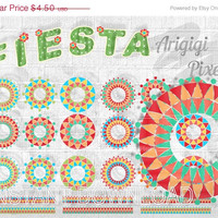 ON SALE 50 % OFF Fiesta clip art, digital border, digital paper, Cinco de Mayo clipart, festive circles and tapes digital elements, instant