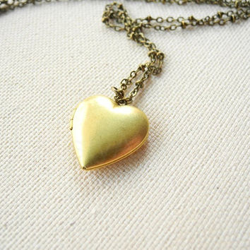 Heart Locket Necklace - Brass Heart Locket - Photo Locket Necklace - Chain Locket Necklace - Free Shipping Etsy